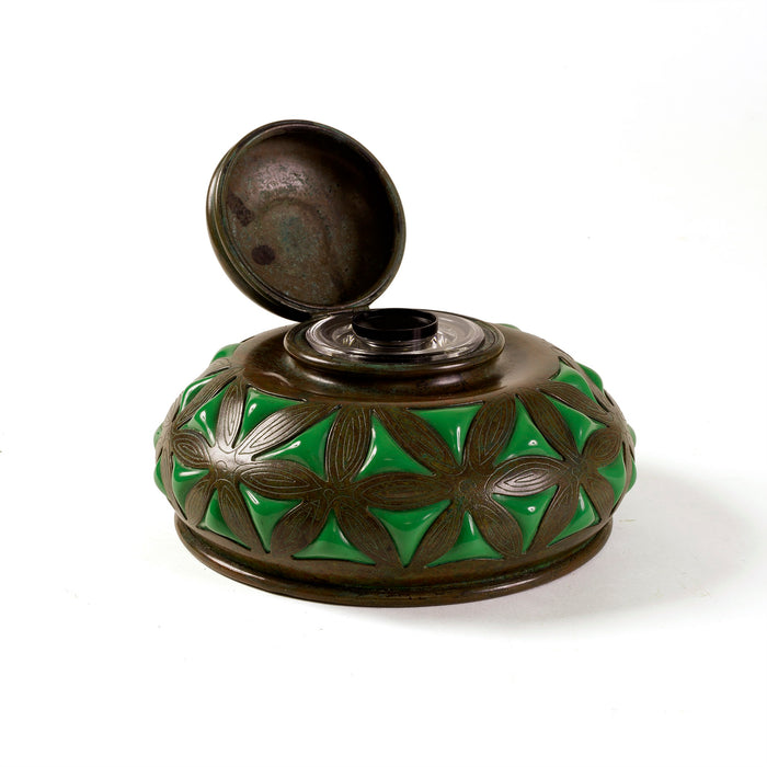 Macklowe Gallery Tiffany Studios New York Bronze and Green Glass Inkwell