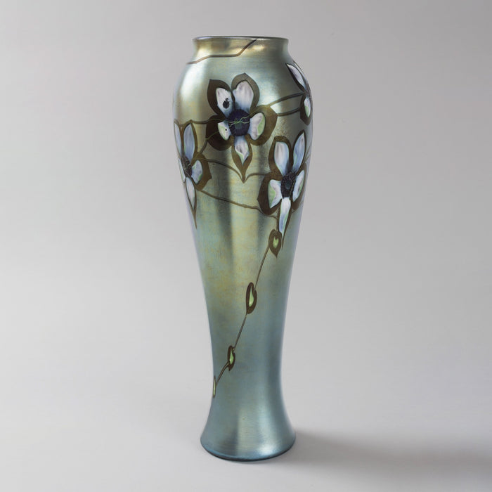 Macklowe Gallery Tiffany Studios New York Intaglio Carved Floral Glass Vase