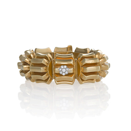 Macklowe Gallery Omega Gold and Diamond Concealed Bracelet Watch