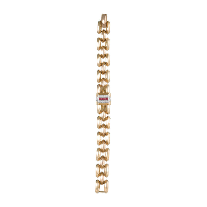 Macklowe Gallery Cartier Ruby and Diamond Concealed Bracelet Watch