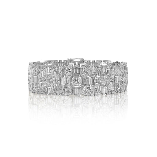 Macklowe Gallery Geometric Multi-Cut Diamond Strap Bracelet