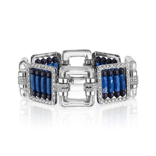 Macklowe Gallery Rock Crystal and Lapis Lazuli Beaded Link Bracelet