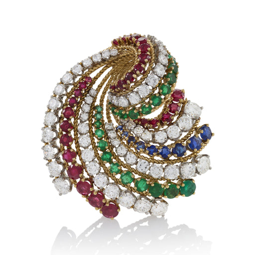 Macklowe Gallery Van Cleef & Arpels Colored Gem-Set Ribbon Brooch