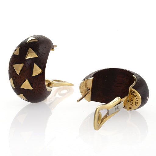 Macklowe Gallery Van Cleef & Arpels Exotic Wood Half Hoop Earrings