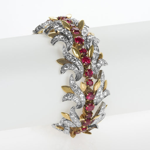 Macklowe Gallery Tiffany & Co. Burmese Ruby and Diamond Leaf Bracelet