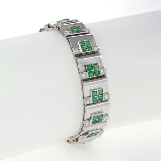 Macklowe Gallery Rubel Frères (Attributed) Emerald and Diamond Step Bracelet