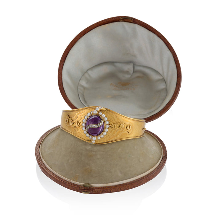 Macklowe Gallery Cabochon Amethyst and Split Seed Pearl Gold Bangle