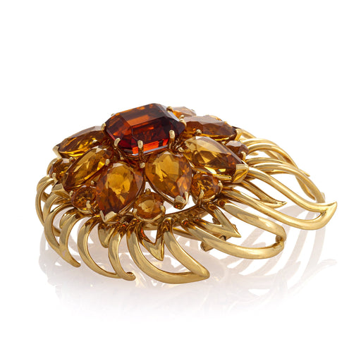 Macklowe Gallery Cartier Citrine and Gold Chrysanthemum Brooch