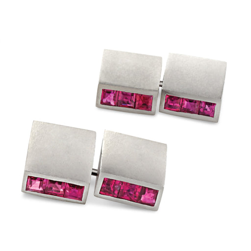 Macklowe Gallery Ruby and Platinum Bar Cuff Links