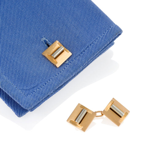 Macklowe Gallery Gold and Platinum Geometric Cuff Links