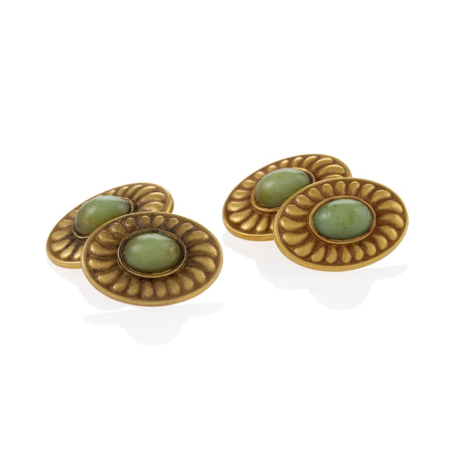 Macklowe Gallery Pickslay & Co. Chrysoprase and Gold Cuff Links
