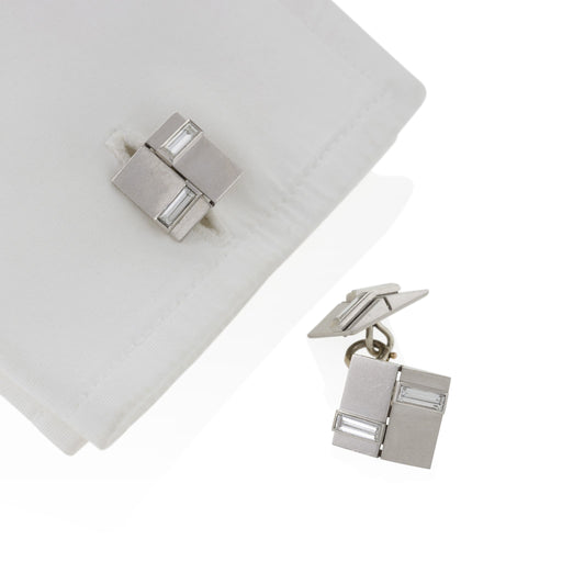 Macklowe Gallery Van Cleef & Arpels Diamond and Platinum Cuff Links