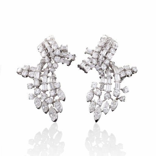 Macklowe Gallery Diamond Cluster and Platinum Earrings