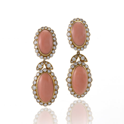 Macklowe Gallery Van Cleef & Arpels Coral and Diamond Drop Earrings
