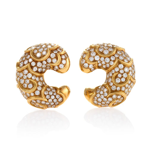"Macklowe Gallery Marina B Gold and Diamond ""Onda"" Earrings"