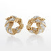 Macklowe Gallery Van Cleef & Arpels Textured Gold and Diamond Hoop Earrings