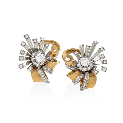 Macklowe Gallery White and Yellow Gold Diamond Sunburst Earrings