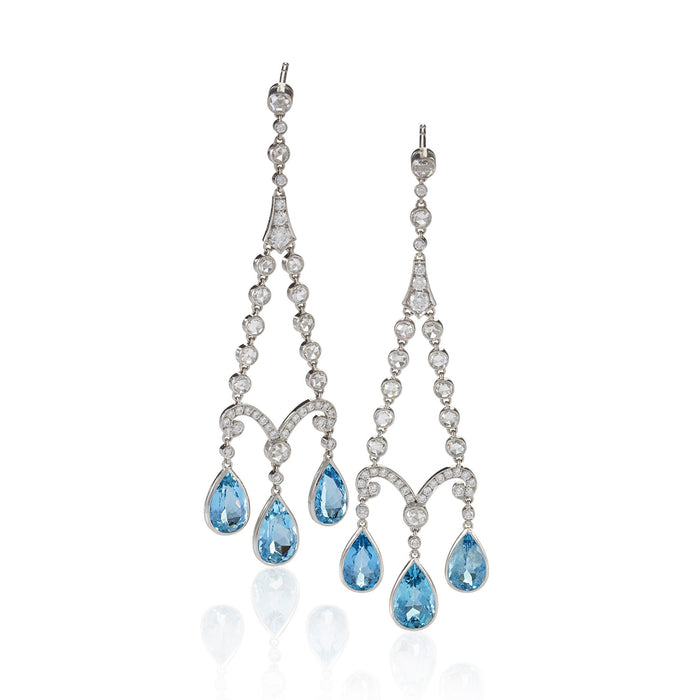 Macklowe Gallery Tiffany & Co. Aquamarine and Diamond Chandelier Earrings