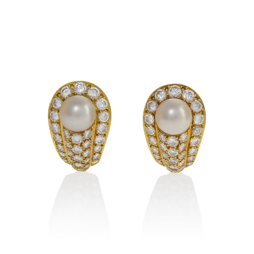 Macklowe Gallery Cartier Japanese Cultured Pearl and Diamond Earrings
