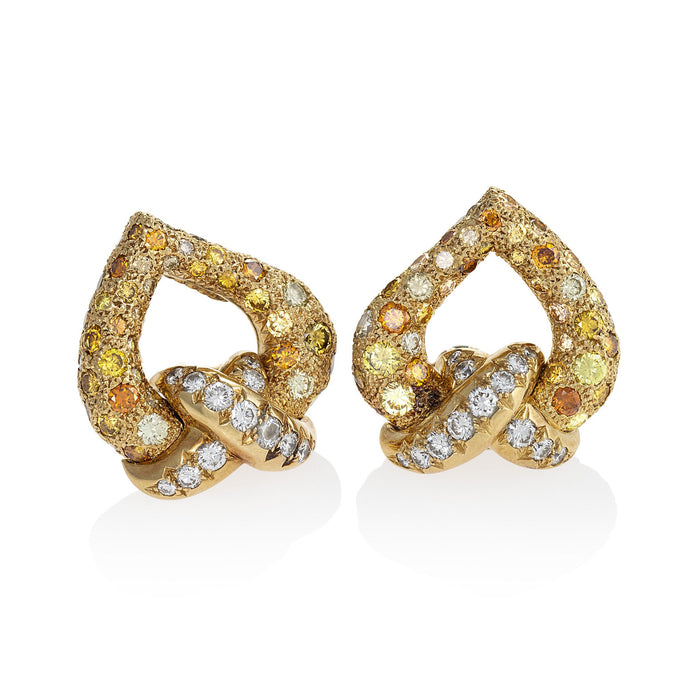 Macklowe Gallery René Boivin Fancy Color Diamond Earrings