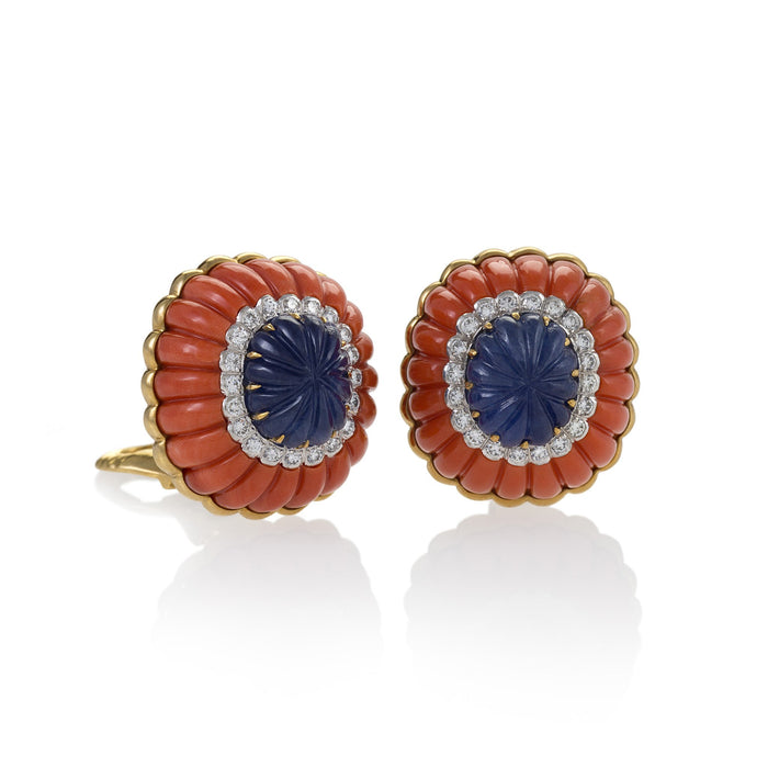 Macklowe Gallery David Webb Coral and Sapphire Button Earrings