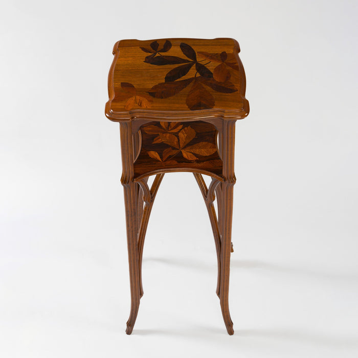 Macklowe Gallery Émile Gallé French Walnut and Fruitwood Marquetry Two-Tiered Pedestal