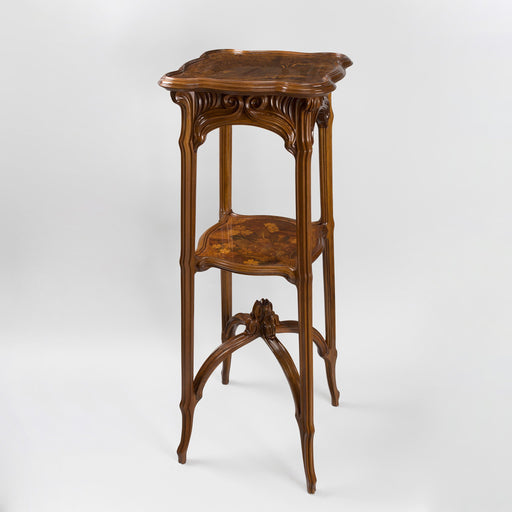 Macklowe Gallery Émile Gallé Carved French Walnut and Fruitwood Marquetry Pedestal