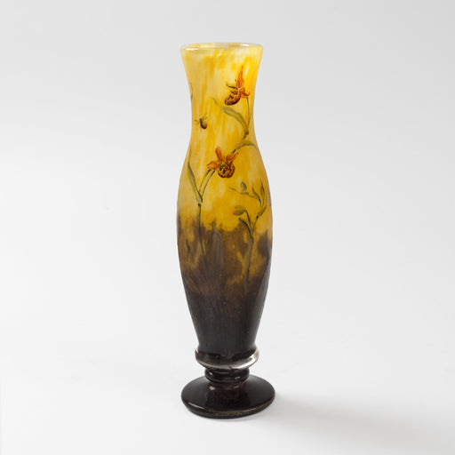 Macklowe Gallery Daum Nancy Enameled and Etched Orchid Landscape Glass Vase
