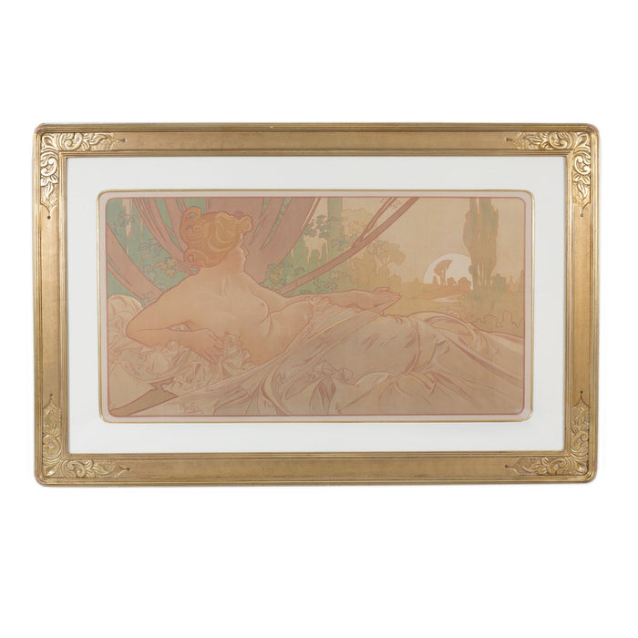 "Macklowe Gallery Alphonse Mucha Pair of ""Dawn and Dusk"" Lithographs"