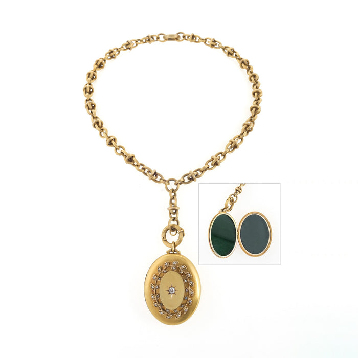 Macklowe Gallery Diamond and Seed Pearl Gold Locket Necklace