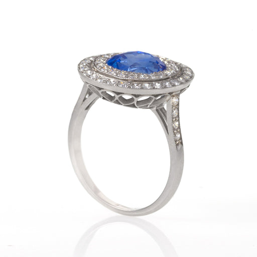 "Macklowe Gallery Ceylon No-Heat Sapphire and Diamond ""Halo"" Ring"