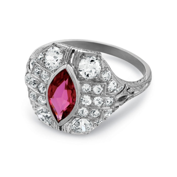 Macklowe Gallery Marquise Natural No-Heat Ruby and Diamond Ring