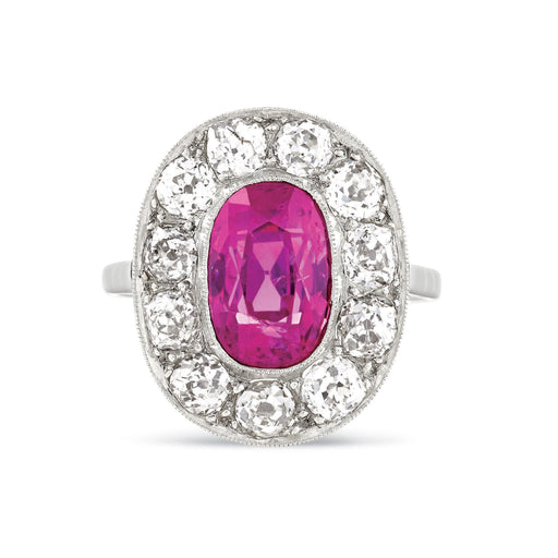 Macklowe Gallery Ceylon Pink Sapphire and Diamond Halo Ring