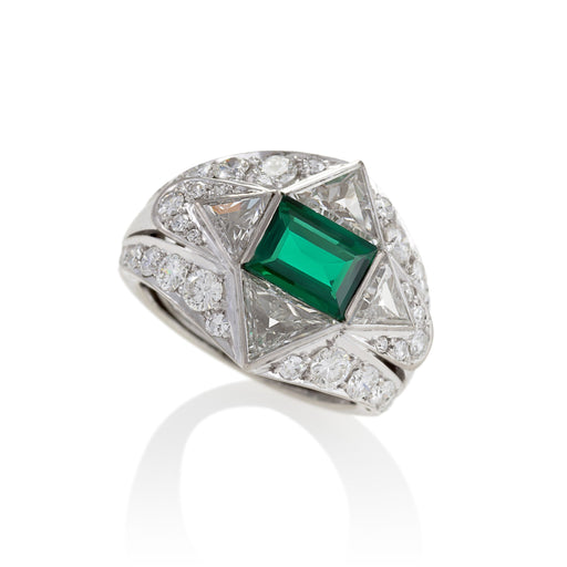 Macklowe Gallery Emerald and Diamond Shooting Star Ring