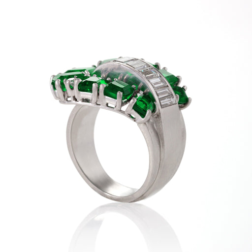 Macklowe Gallery Emerald and Diamond Buckle Ring