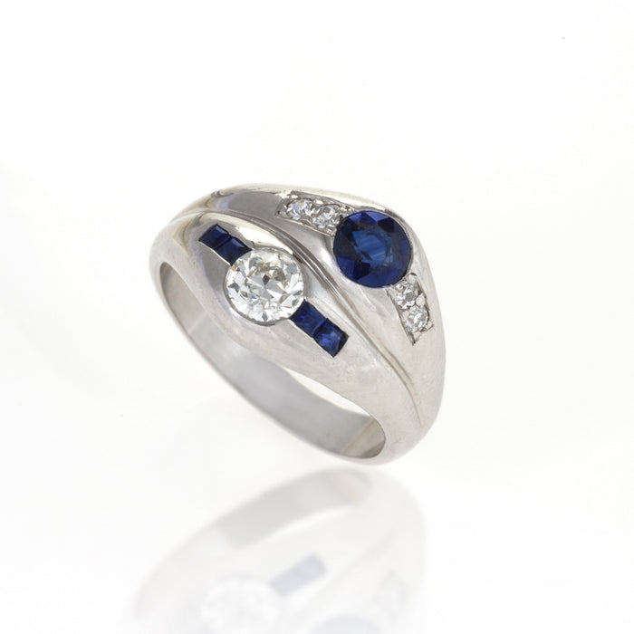Macklowe Gallery Sapphire and Diamond Twin Stone Ring