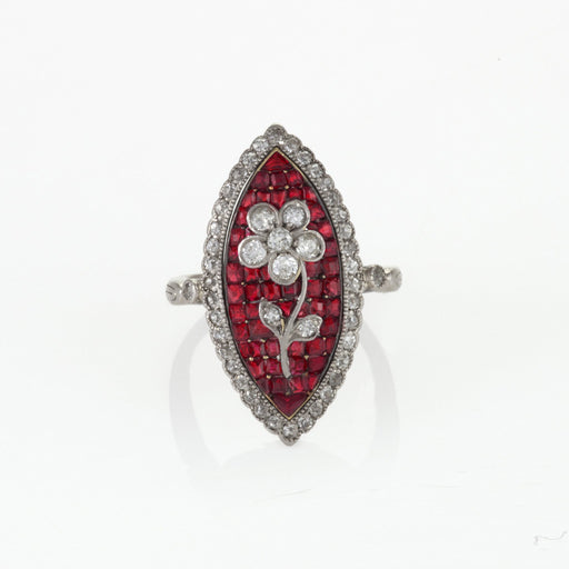 Macklowe Gallery Calibré-Cut Ruby and Diamond Flower Ring