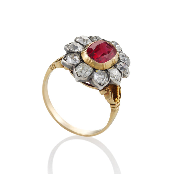 Macklowe Gallery No-Heat Burma Ruby and Diamond Cluster Ring