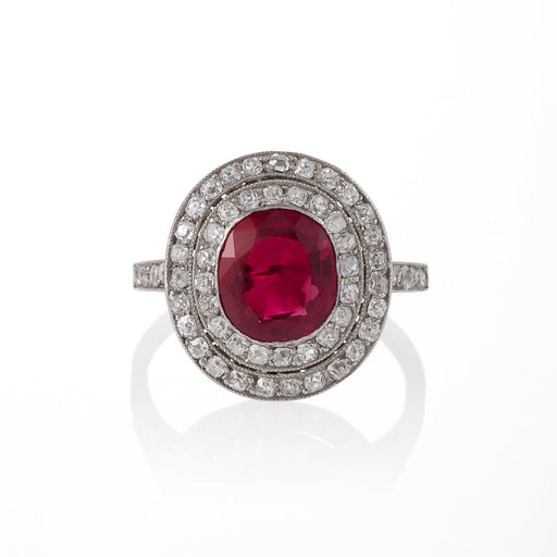 Macklowe Gallery No-Heat Burma Ruby and Diamond Halo Ring