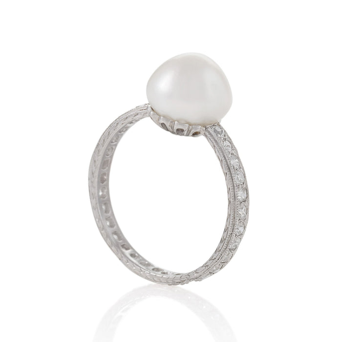 Macklowe Gallery Natural Saltwater Pearl and Diamond Band Ring
