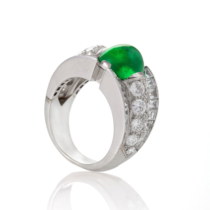 Macklowe Gallery Cabochon Colombian Emerald and Diamond Ring