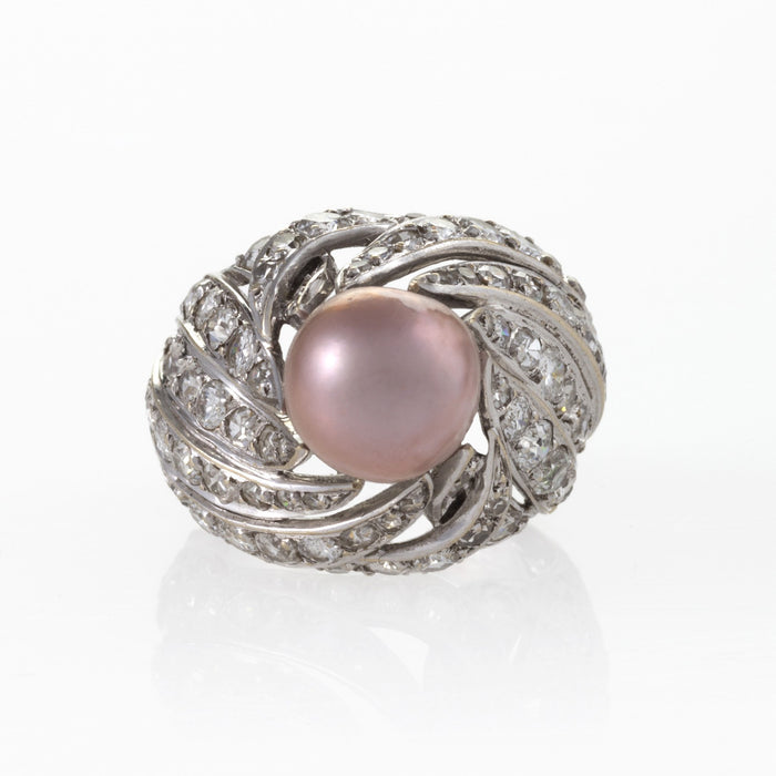 Macklowe Gallery Pierre Sterlé Natural Pearl and Diamond Ring