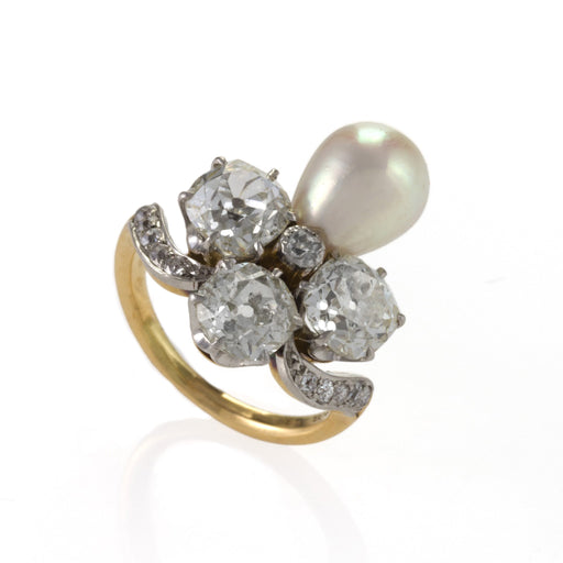 Macklowe Gallery Marcus & Co. Natural Pearl and Diamond Ring