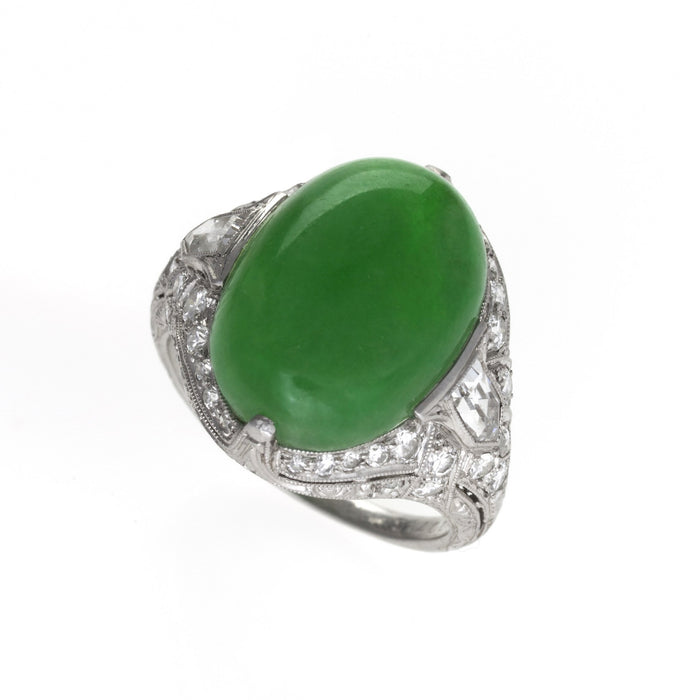 Macklowe Gallery Jung & Klitz Jadeite and Diamond Ring