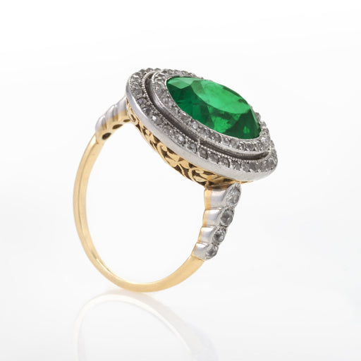 Macklowe Gallery Colombian Emerald and Diamond Halo Ring