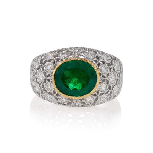 Macklowe Gallery Buccellati Colombian Emerald and Diamond Ring