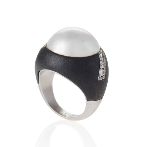 Macklowe Gallery Marsh & Co. Patinated Steel Pearl and Diamond Ring