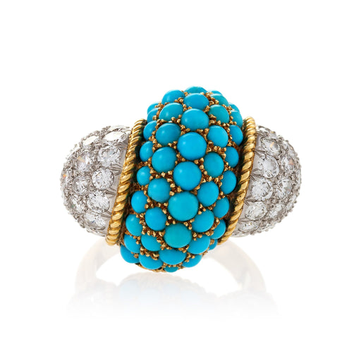 Macklowe Gallery Cartier Pavé Turquoise and Diamond Ring