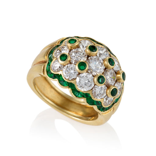 Macklowe Gallery Van Cleef & Arpels Emerald and Diamond Bombé Ring