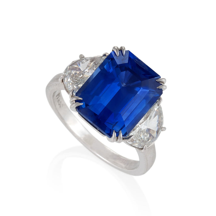 Macklowe Gallery Ceylon No-Heat Sapphire and Half-Moon Diamond Ring